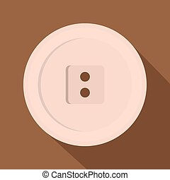 White sewing button icon, flat style - White sewing button...
