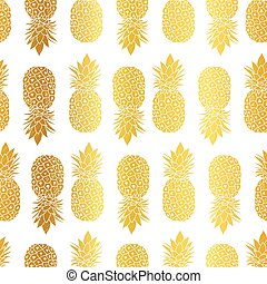 Vector Gold White Pineapples Geometric Vector Repeat...