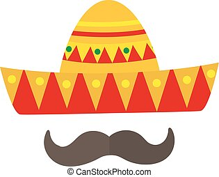 Sombrero icon, flat style. Mexican traditional clothing. Isolated on white background. Vector illustration, clip-art.