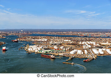 Aerial view of oil storages in Bayonne, NJ, USA