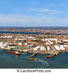 Aerial view on oil storages in Bayonne, NJ, USA