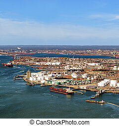 Aerial view to oil storages in Bayonne, NJ, USA
