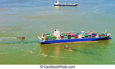 Aerial view of Bayonne Container Ship