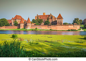 Malbork Castle at Nogat River in Poland, Europe