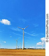 Wind mills in field in summer - Wind mills in the field in...
