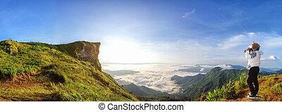 Panorama sunrise over the mountain
