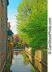 Canal at Brick Mill in Gdansk, Poland