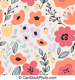 Fantasy flowers seamless pattern
