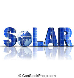 solar - word Solar with 3D globe replacing letter O