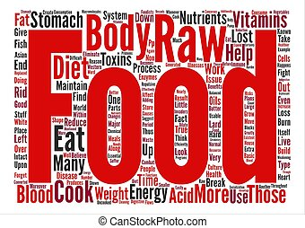 The Health Benefits of a Raw Food Diet text background word...