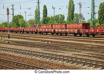 Railroad - Railway tracks with freight train wagons