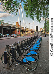 Bicycles at Hungerford Bridge in Lambeth in London -...