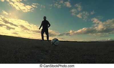 soccer. Two men play soccer sport football silhouettes...