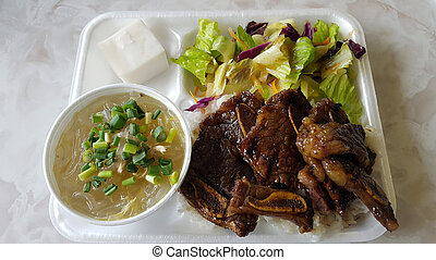 Kalbi Combo with Chicken Long Rice Plate with salad and...