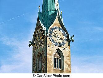 Clock of Fraumunster Church in Zurich, Switzerland