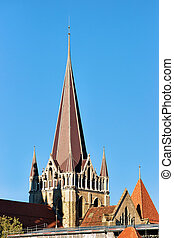 Spire of Cathedral of Notre Dame in Lausanne, Switzerland.