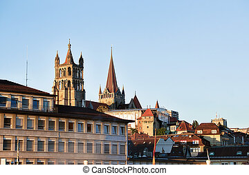 Lausanne Cathedral of Notre Dame in Lausanne city center,...