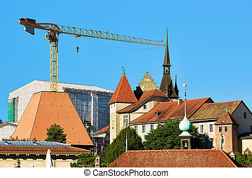 Towers in Lausanne old city center, Switzerland. Seen from...