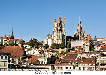 Cathedral of Notre Dame in Lausanne, Switzerland. Seen from...