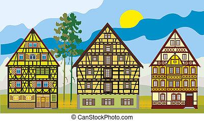 Three cottages, farm-houses