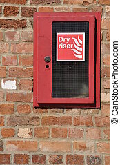 Dry riser - dry riser fire extinguisher inlet (brick wall...