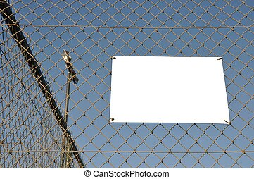 Outdoor placard - empty placard hanging on a sports court...