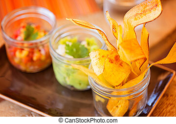 plantain chips and dips - nicely served crunchy and...