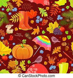 cute seamless texture with autumn elements
