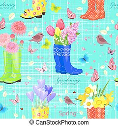 seamless texture with spring flowers in rubber shoes.