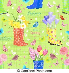 seamless texture with bouquets of lovely flowers in rubber boots