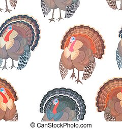 seamless texture with collection wild turkeys for your design