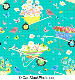 retro seamless texture with funny wheelbarrows full of flowers