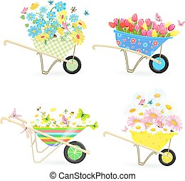 gardening collection of funny wheelbarrows with bouquets of flow