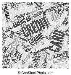 The Credit Card 70 Years Of Service text background wordcloud concept