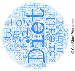 The cause of bad breath on low carb diets text background...