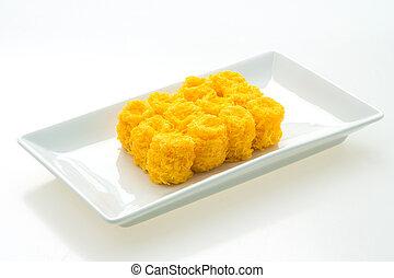 Sweet dessert - Thai sweet dessert - Foi Thong in plate...