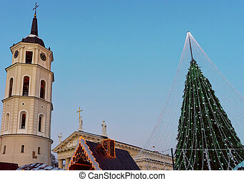 Christmas tree with decorations and Belfry at Cathedral Square