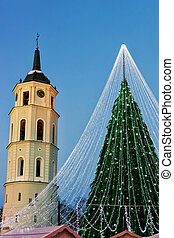 Christmas tree with decoration and Belfry of Cathedral Square