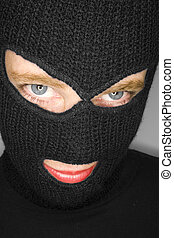 A stock photograph of a blindfolded woman
