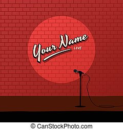 red brick stand up comedy cartoon theme vector illustration...