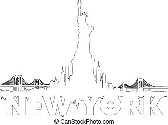 New York City skyline outline vector - New York City skyline...