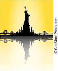 Yellow New York City skyline with Statue of liberty Vector -...