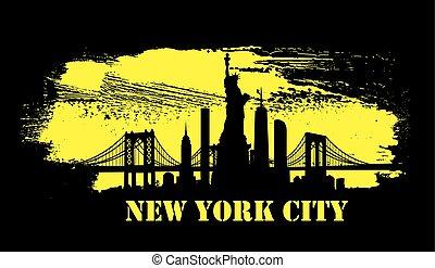 Yellow New York City skyline Vector - Yellow art brush...