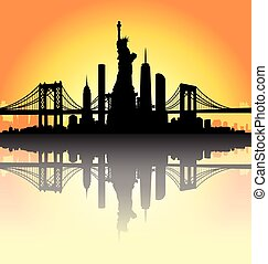 Sunset New York City skyline Vector - New York City skyline...