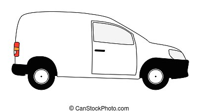 Small Delivery Van - A small white delivery van with copy...