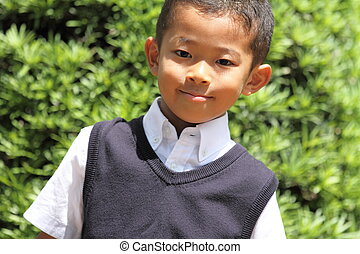 Japanese boy in the formal wear (first grade at elementary...