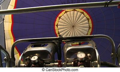 Hot air balloon equipment view from the basket