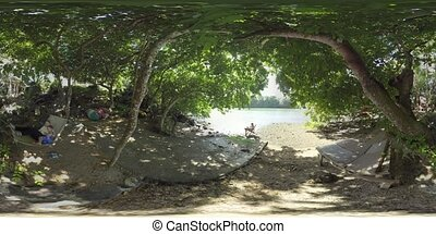 360 VR People spending time in quiet place by the river,...