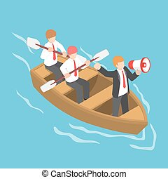 Isometric businessman in rowing team with leader command and...