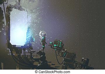 the astronaut walking out through futuristic portal, sci-fi...